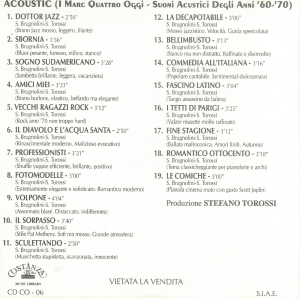 Musica Per Commenti Sonori - Acoustic (I Marc Quattro Oggi - Suoni Acustici Degli Anni '60-'70) (1997) Costanza Records [Italy] (CD CO-06) back cover