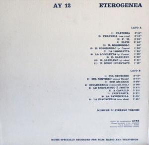Stefano Torossi - Eterogenea (1974) Ayna (AY 12) back