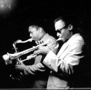 Miles Davis and John Coltrane (screen capture from 1959 TV broadcast on CBS)
