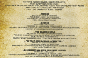 Django Unchained LP liner notes credit crop