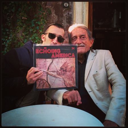 Lorenzo and Stefano with an original copy of the Echoing America LP in fall 2014