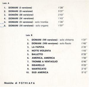 Fotriafa (aka Stefano Torossi) - Una tema tante variazioni (early 1970s) Lupus Records back
