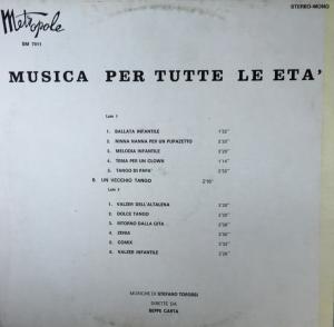 Beppe Carta and Stefano Torossi - Musica per tutte le eta' (1970s) Metropole Records back