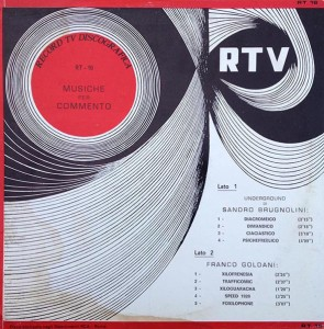 Sandro Brugnolini and Franco Goldani - Musiche per commento (1970) Record TV Discografica (RT 16)