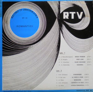 Various Artists - Romantici (1970) Record TV Discografica (RT 51)