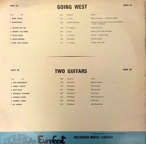 Going West - Two Guitars (1970s) Conroy Eurobeat back