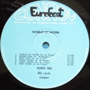 Rino De Filippi - World At Work (1970s) Conroy Eurobeat label
