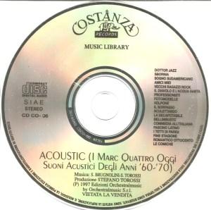 Sandro Brugnolini and Stefano Torossi – Musica per commenti sonori: Acoustic (I Marc Quattro oggi – Suoni acustici degli anni '60-'70) (1997) Costanza Records label