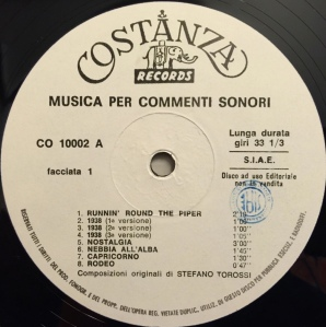 Stefano Torossi - Musica per commenti sonori (1968) Costanza Records (CO 10002) Side A label