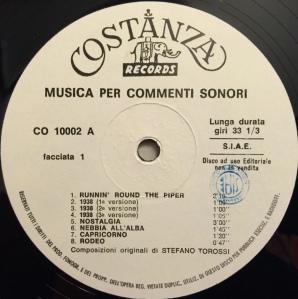 Stefano Torossi - Musica per commenti sonori (1968) Costanza Records (CO 10002) Side A label