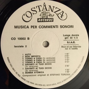 Stefano Torossi - Musica per commenti sonori (1968) Costanza Records (CO 10002) Side B label