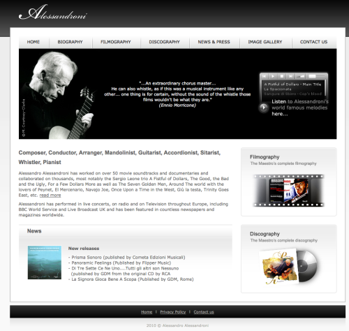 openiing page of Alessandro Alessandroni's website