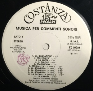 Stefano Torossi - Musica per commenti sonori (1971) Costanza Records (CO 10010) label