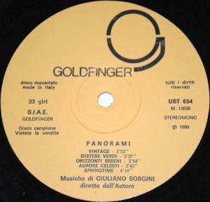 Giuliano Sorgini - Panorami (1980) Goldfinger label A