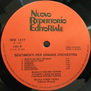 Giuliano Sorgini - Strumentali - Sentimenti per grande orchestra (1989) Fonit Cetra label B