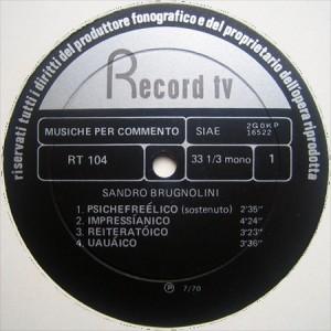 Sandro Brugnolini - Underground (1970) Record TV Discografica label A