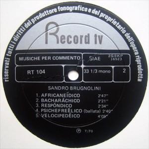 Sandro Brugnolini - Underground (1970) Record TV Discografica label B