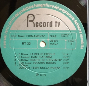 Various Artists - Musiche per commento (1970) Record TV Discografica label B