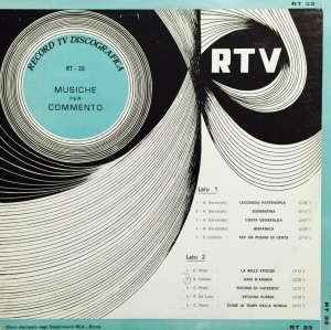 Various Artists - Musiche per commento (1970) Record TV Discografica