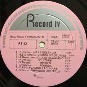 Various Artists - Musiche per commento (1971) Record TV Discografica label