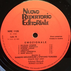 Sandro Brugnolini and Stefano Torossi - Strumentali: Emozionale (1987) Fonit Cetra label B