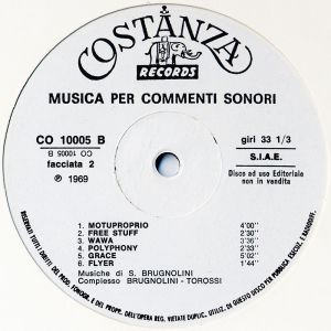 Sandro Brugnolini and Stefano Torossi - Musica per commenti sonori (1969) Costanza Records label B