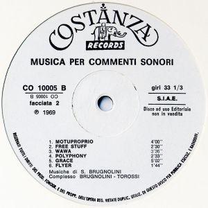 Sandro Brugnolini and Stefano Torossi - Musica per commenti sonori (1969) Costanza Records label B