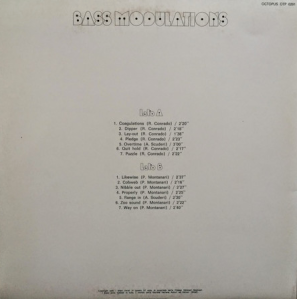 Roberto Conrado, Piero Montanari, and Antonino Scuderi - Bass Modulations (1973) Octopus Records back
