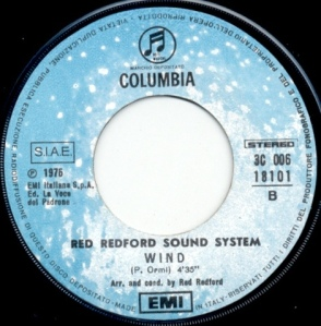 "Red Redford Sound System - ""Scandalo al sole (A Summer Place)"" / ""Wind"" (1975) Columbia label B"