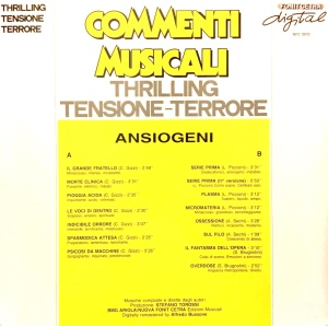 Various Artists - Commenti musicali: Thrilling - tensione - terrore (Ansiogeni) (1989) Fonit Cetra/RAI