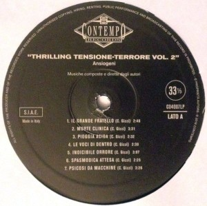 Various Artists - Commenti musicali: Thrilling - tensione - terrore (Ansiogeni) (2016 Reissue) Contempo Records (1989) label A