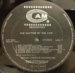 Oscar Lindok's Orchestra - The Rhythm Of Life (1972) CAM label 1