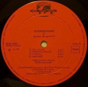 Sandro Brugnolini - Overground (1970) Sincro label A
