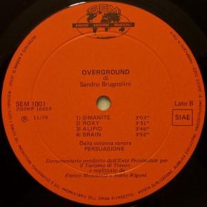 Sandro Brugnolini - Overground (1970) Sincro label B