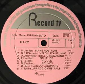Various Artists - Musiche per commento (1971) Record TV Discografica (RT 62) label A