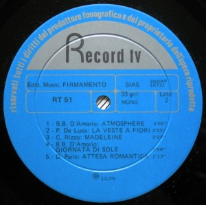 Various Artists - Romantici (1970) Record TV Discografica (RT 51) label B